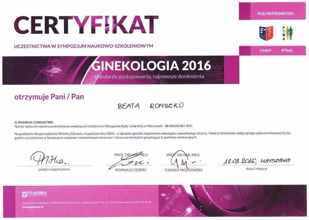 Sympozjum Naukowo-Szkoleniowe Ginekologia 2016